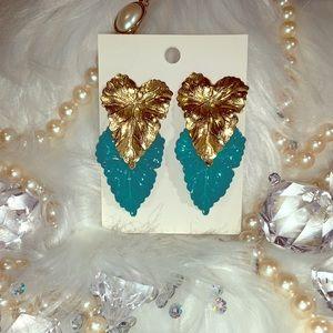 Golden left Vintage Jewelry Earrings